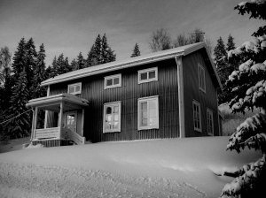 Snowy house black and white